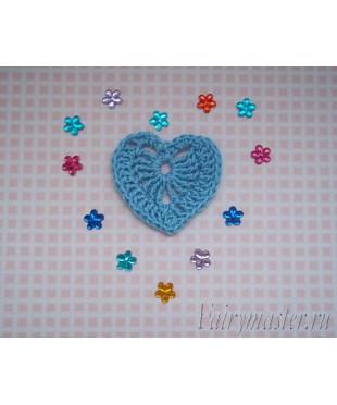Вязанное сердечко  Голубое
