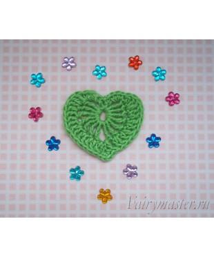 Вязанное сердечко  Зеленое