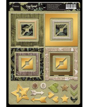 Рамки из чипборда с фольгированием Cozy Forest