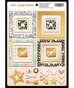 Рамки из чипборда с фольгированием Flowers