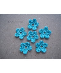 Вязанные цветочки бирюзовые