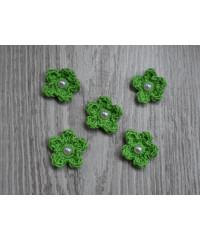 Вязанные цветочки  зелёные