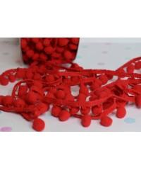 Лента с помпонами красная