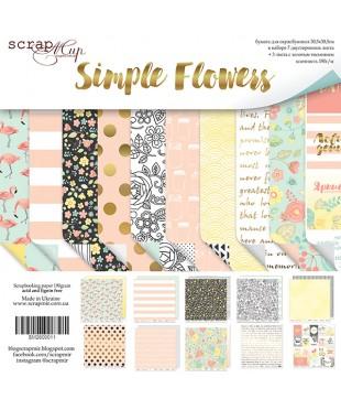 Набор скрап бумаги Simple Flowers 30,5х30,5 см