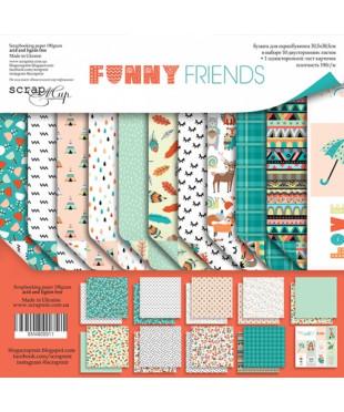 Набор скрап бумаги Funny Friends 30,5х30,5 см