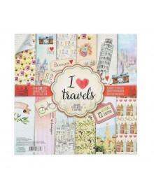 """Набор бумаги  """"I love travels"""""""