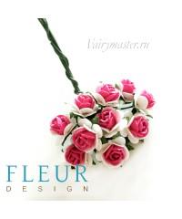 Мини-розочки ярко-розовые с белым