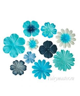 Набор цветочков светло-голубой