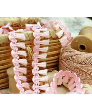 Тесьма хвостики розовая