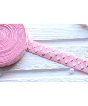 Резинка для блокнотов розовая Золотые сердечки