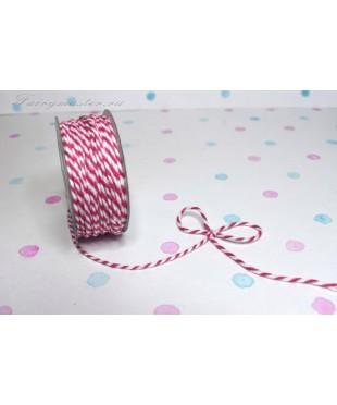 Шнур джутовый  розово-белый