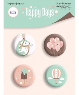 Набор скрап-фишек  Happy Days